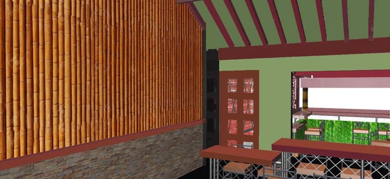 Tamashii interior bamboo wall_rendering